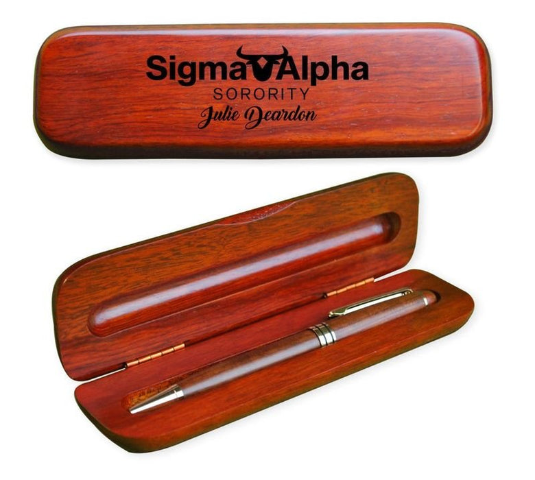 Sigma Alpha Wooden Pen Case & Pen