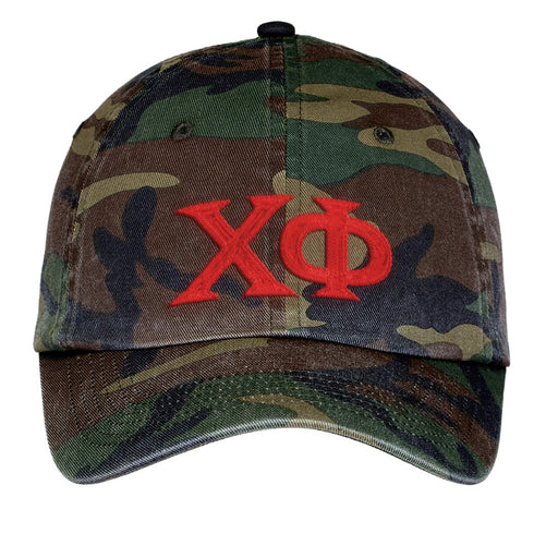 Chi Phi Letters Embroidered Camouflage Hat