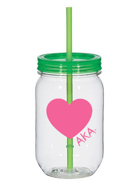 Alpha Kappa Alpha 25oz Scribbled Heart Mason Jar