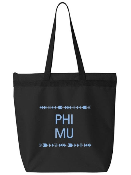 Phi Mu Arrow Top Bottom Tote Bag