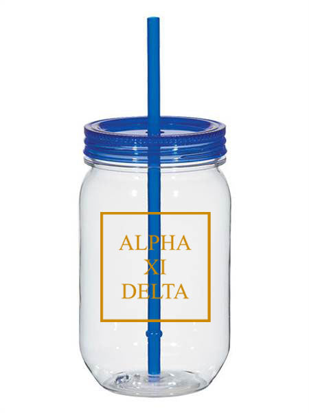 Alpha Xi Delta Box Stacked 25oz Mason Jar