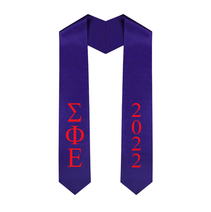 Sigma Phi Epsilon Vertical Grad Stole with Letters & Year