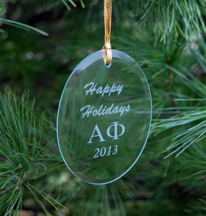 Alpha Phi Engraved Glass Ornament