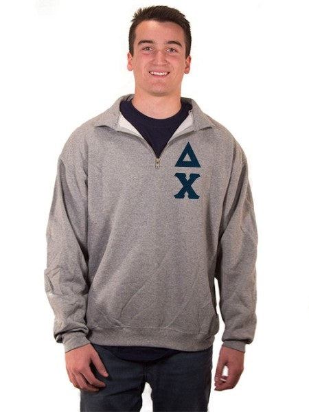 Delta Chi Quarter-Zip with Sewn-On Letters