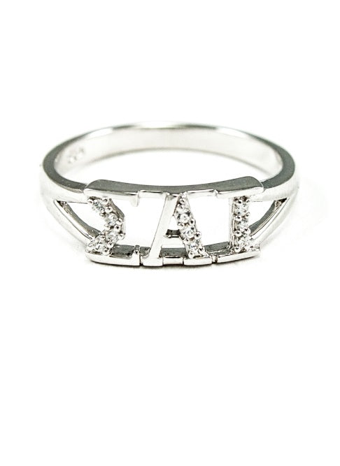Sigma Alpha Iota Sterling Silver Ring with Lab Created Clear Diamond