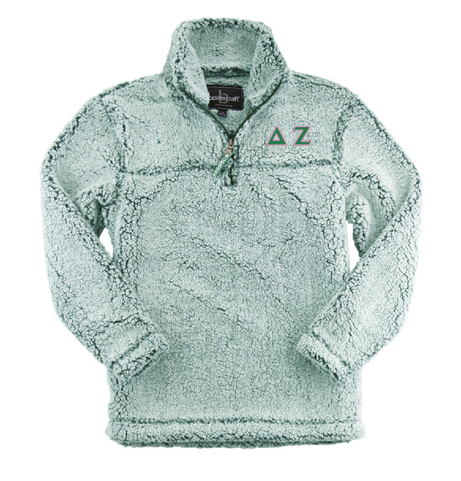 Delta Zeta Embroidered Sherpa Quarter Zip Pullover