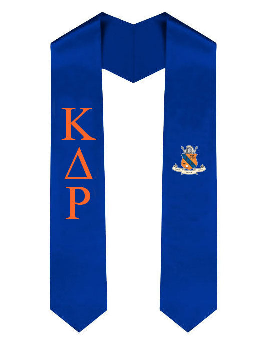 Kappa Delta Rho Lettered Graduation Sash Stole with Crest