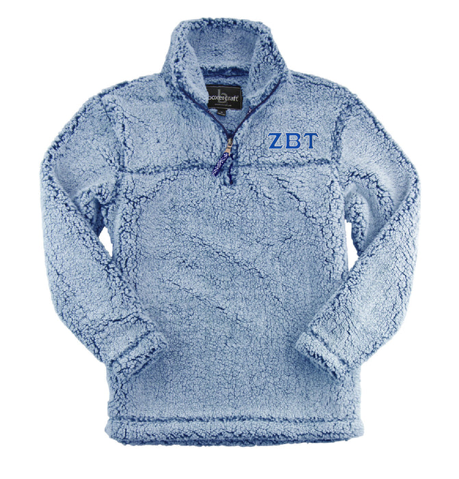 Zeta Beta Tau Embroidered Sherpa Quarter Zip Pullover