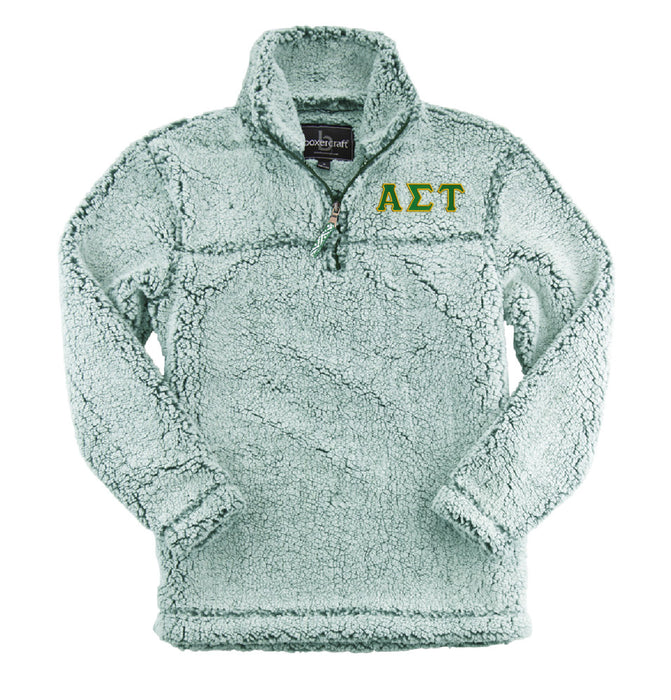 Alpha Sigma Tau Embroidered Sherpa Quarter Zip Pullover