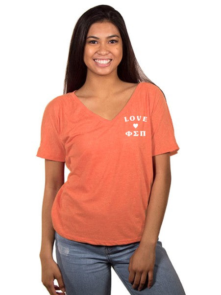 Phi Sigma Pi Love Letters Slouchy V-Neck Tee