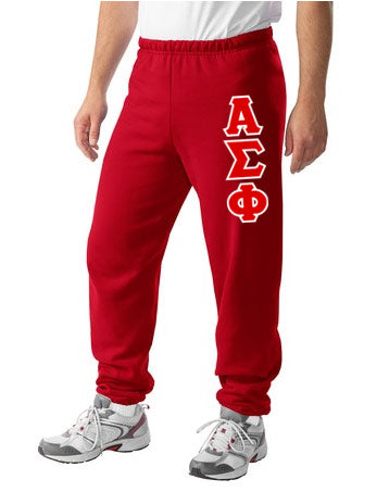 Alpha Sigma Phi Sweatpants with Sewn-On Letters