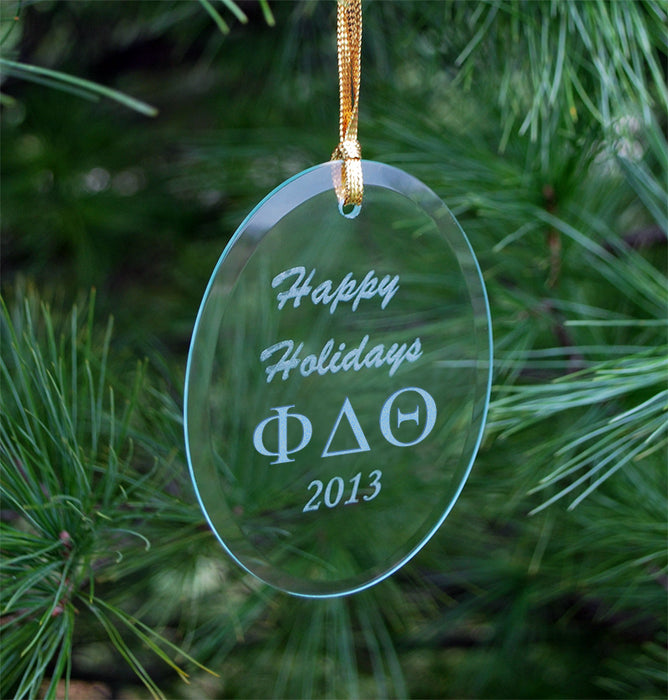 Phi Delta Theta Engraved Glass Ornament