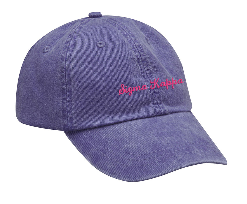 Sigma Kappa Cursive Embroidered Hat