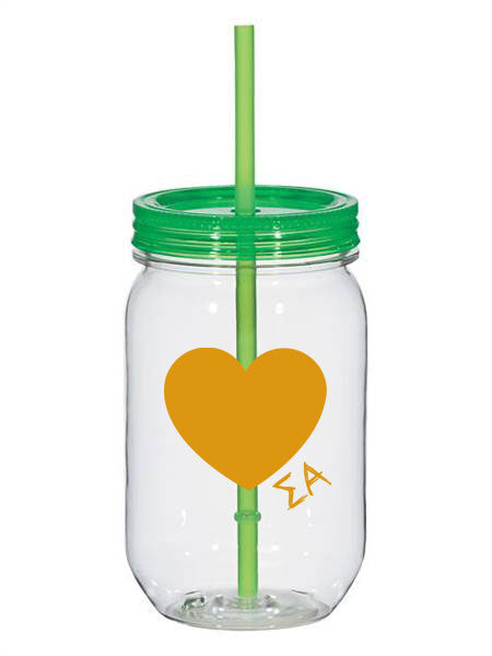 Sigma Alpha 25oz Scribbled Heart Mason Jar