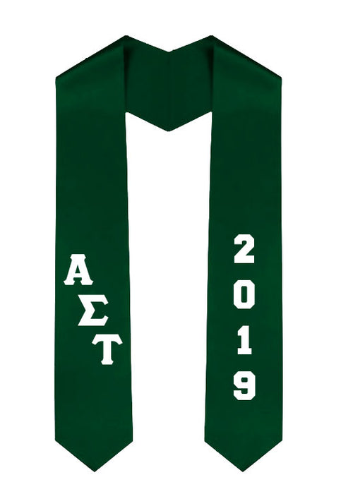 Alpha Sigma Tau Slanted Grad Stole with Letters & Year