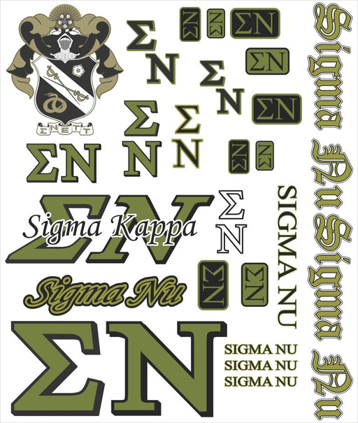 Sigma Nu Multi Greek Decal Sticker Sheet