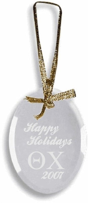 Theta Chi Engraved Glass Ornament