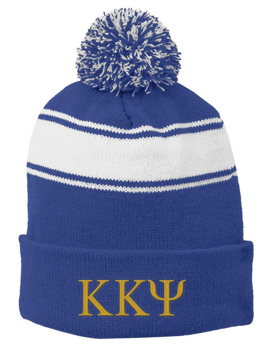 Kappa Kapap Psi Embroidered Pom Pom Beanie