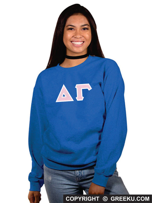 Delta Gamma Classic Colors Sewn-On Letter Crewneck