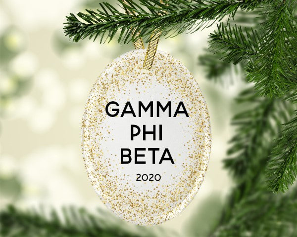 Gamma Phi Beta Gold Speckled Glass Ornament