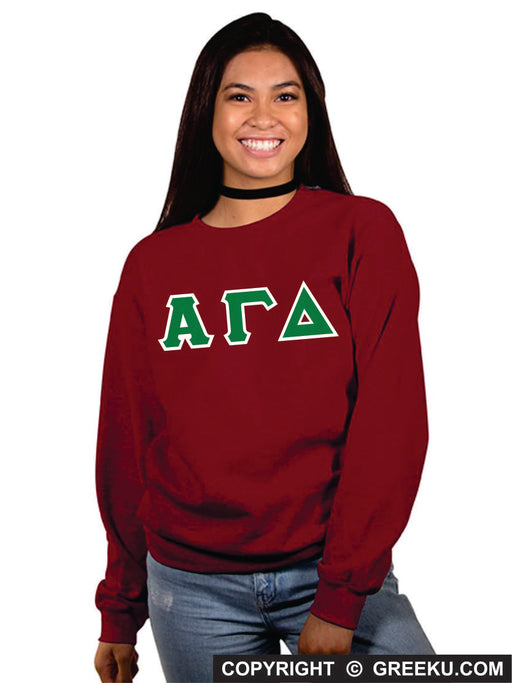 Alpha Gamma Delta Classic Colors Sewn-On Letter Crewneck
