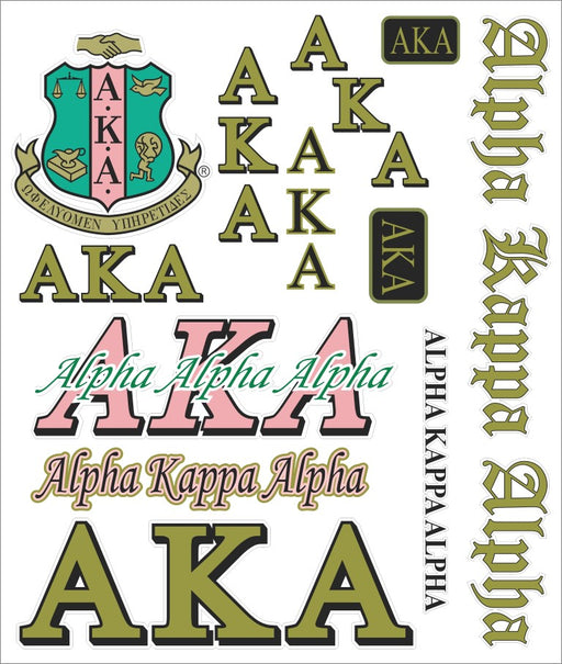 Alpha Kappa Alpha Multi Greek Decal Sticker Sheet