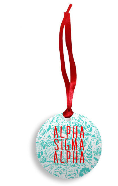 Alpha Sigma Alpha Floral Pattern Sunburst Ornament