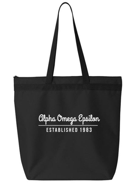 Alpha Omega Epsilon Year Established Tote Bag