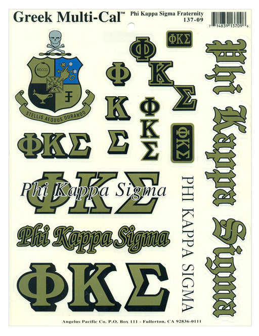 Phi Kappa Sigma Multi Greek Decal Sticker Sheet