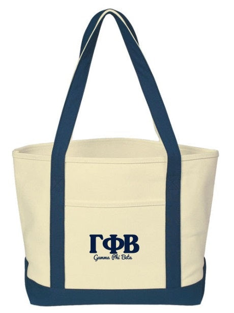 Gamma Phi Beta Layered Letters Boat Tote