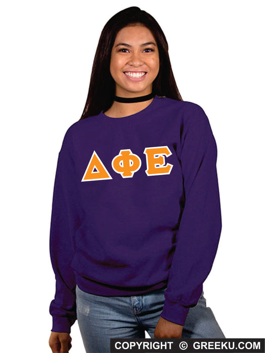 Delta Phi Epsilon Classic Colors Sewn-On Letter Crewneck