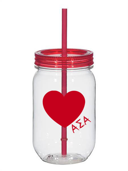 Alpha Sigma Alpha 25oz Scribbled Heart Mason Jar
