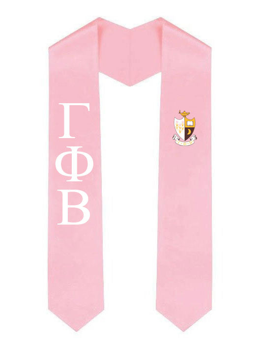 Gamma Phi Beta Lettered Graduation Sash Stole with Crest