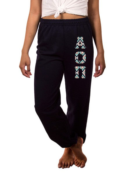 Alpha Omicron Pi Sweatpants with Sewn-On Letters