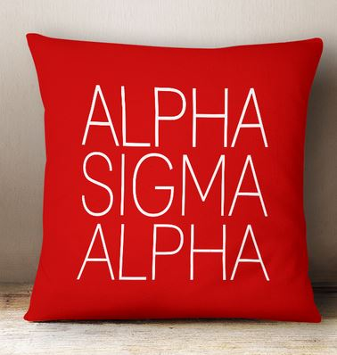Alpha Sigma Alpha Simple Text Throw Pillow