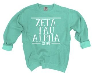 Zeta Tau Alpha Comfort Colors Custom Sorority Sweatshirt