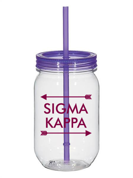 Sigma Kappa Arrow Top Bottom 25oz Mason Jar