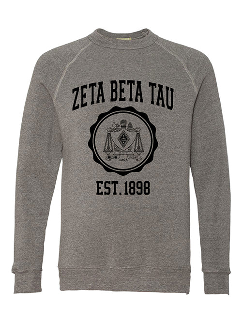 Zeta Beta Tau Alternative Eco Fleece Champ Crewneck Sweatshirt