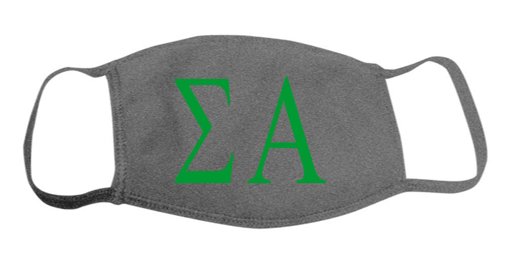 Sigma Alpha Face Mask With Big Greek Letters