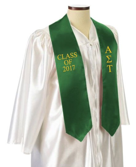 Alpha Sigma Tau Classic Colors Embroidered Grad Stole