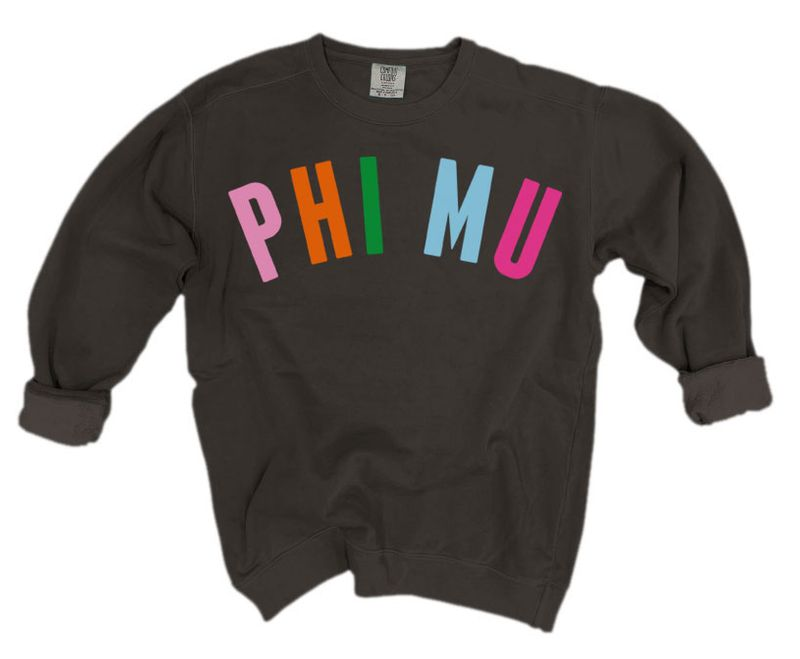Phi Mu Comfort Colors Over the Rainbow Sorority Sweatshirt