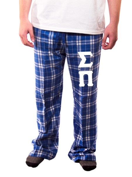 Sigma Pi Pajama Pants with Sewn-On Letters