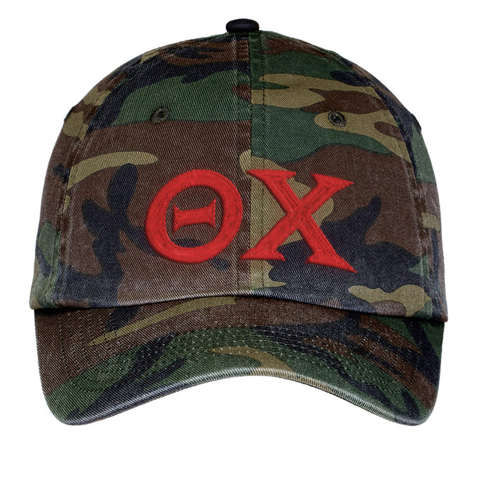 Theta Chi Letters Embroidered Camouflage Hat