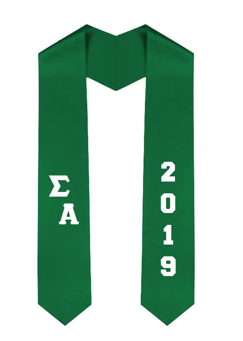 Sigma Alpha Slanted Grad Stole with Letters & Year