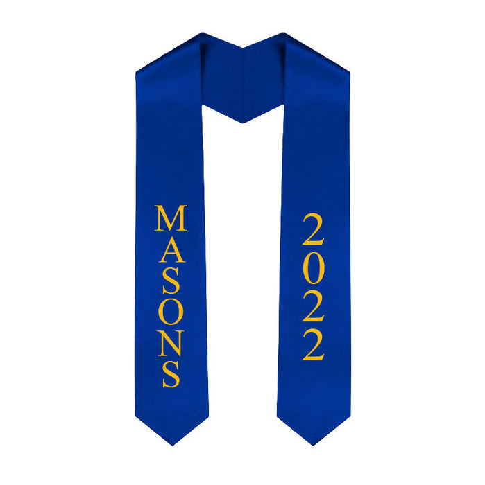 Masonic 20 Vertical Grad Stole with Letters & Year