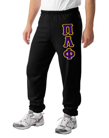 Pi Lambda Phi Sweatpants with Sewn-On Letters