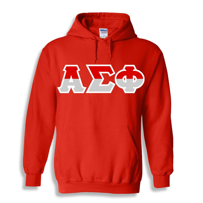 Alpha Sigma Phi Two Toned Lettered Hooded Sweatshirt