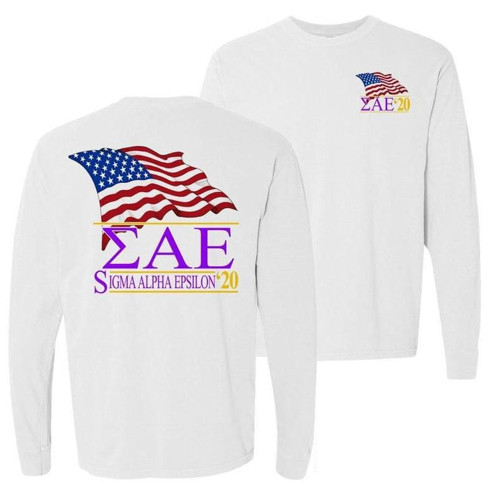 Sigma Alpha Epsilon Patriot Flag Comfort Colors Long Tee