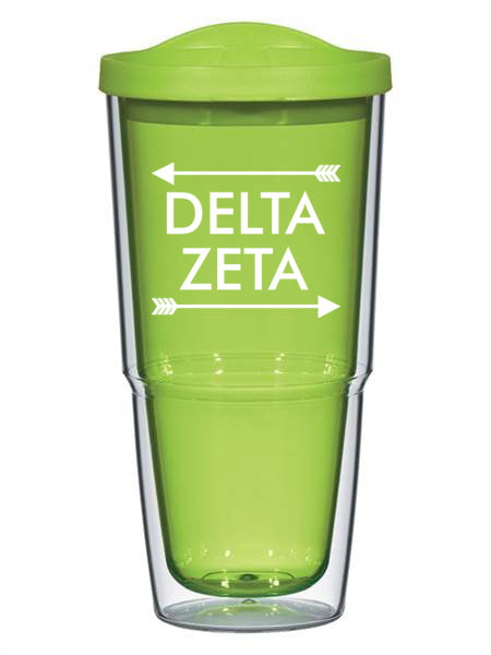 Delta Zeta Arrow Top Bottom 24oz Tumbler with Lid