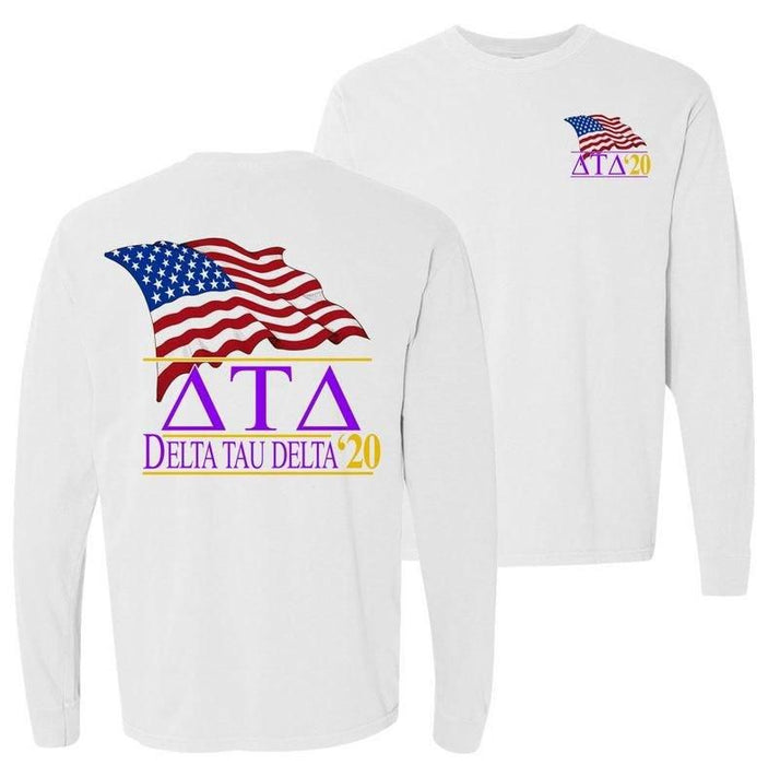 Delta Tau Delta Patriot Flag Comfort Colors Long Tee